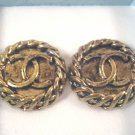 Vintage Designer CC Logo Button Pierced Earrings Antique Gold