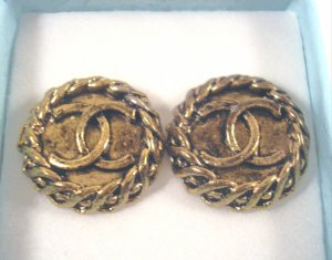 Vintage Designer CC Logo Button Clip On Earrings Antique Gold