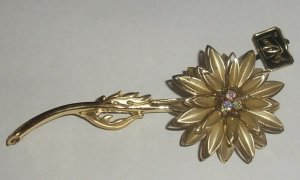 Coro Brooch Pin Gold Flower AB Aurora Borealis BOOK PC.