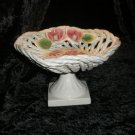 Italian Capodimonte Porcelain Compote Roses Shabby Chic