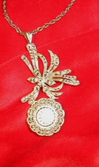 Hilton 17J Sterling Marcasite Necklace Pendant Watch