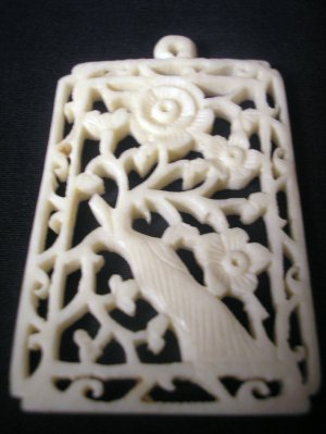 Pre-Ban Carved Ivory Vintage Asian India Floral Pendant