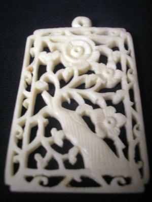 Pre-Ban Carved Ivory Vintage Asian India Floral Pendant