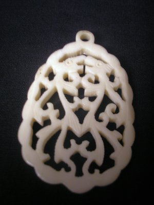 Vintage Pre-Ban Carved Ivory Asian Dog Dragon Pendant