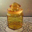L E Smith Glass Amber Paneled 7 in. Canister Apothecary Storage Jar, Ground Lid