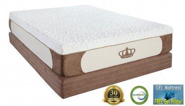 "12"" King CoolBreeze GEL Memory Foam Mattress with Free 2 Gel Pillows"