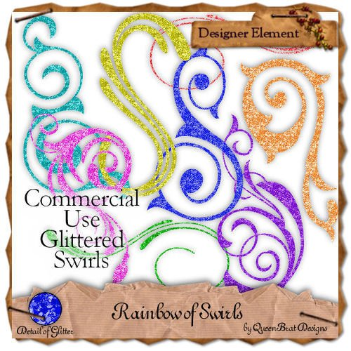 Rainbow of Swirls Tagger Size