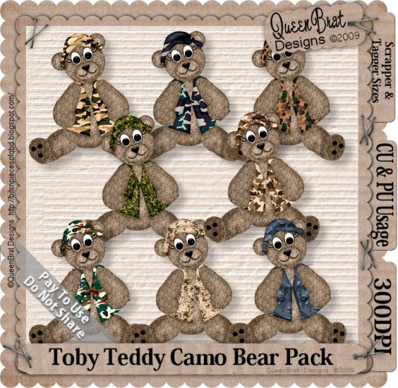 Toby Teddy Camo Bear Pack Scrapper