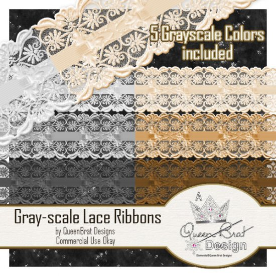 Gray-scale Lace Ribbons