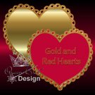 Golden and Red Hearts