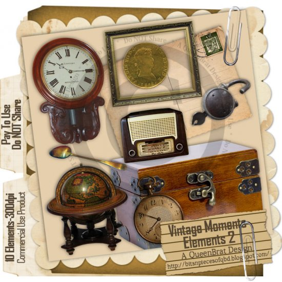Vintage Moments Elements 2 - Scrapper Size