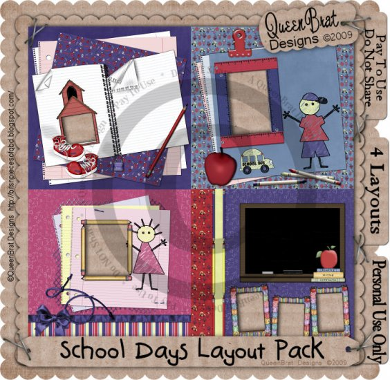 School Days Layout Pack Scrapper
