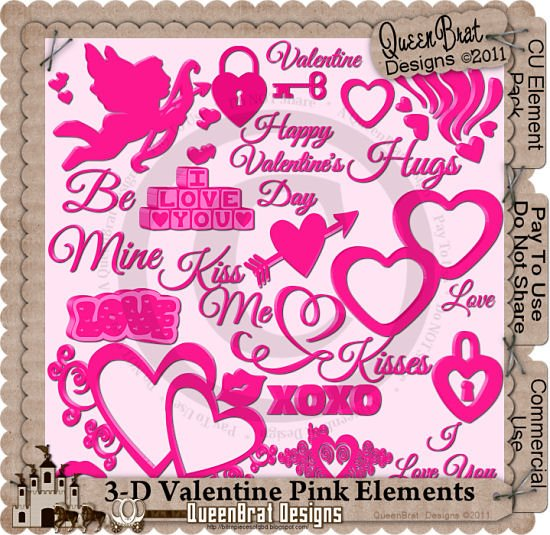 3-D Valentine Pink Element Pack