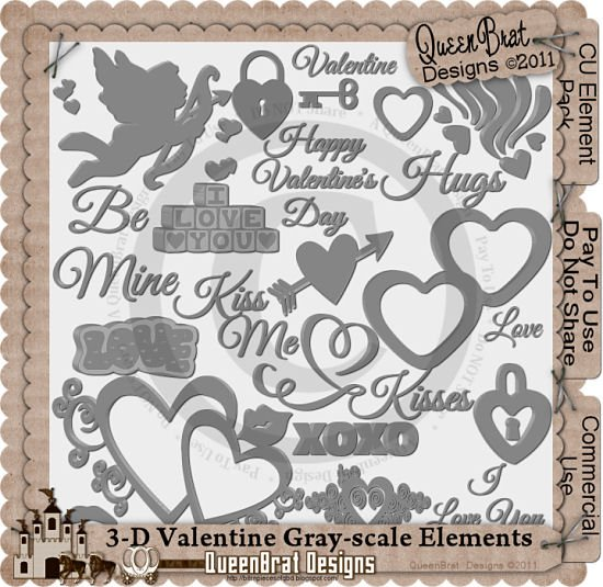 3-D Valentine Gray-scale Template Pack
