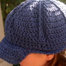 Indigo beanie with brim - adult small