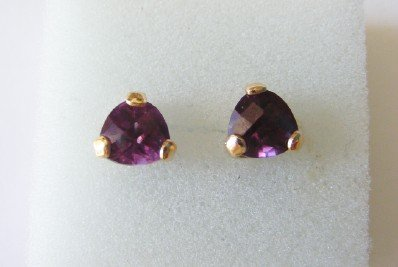 Alexandrite(lab Created) 8x8 Trillion Earrings