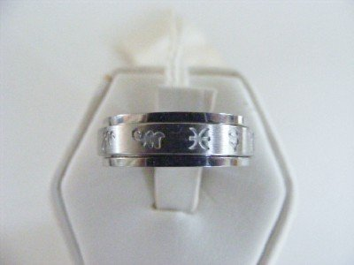 Stainless Steel Spinner Ring Greek Symbols Size 6.5