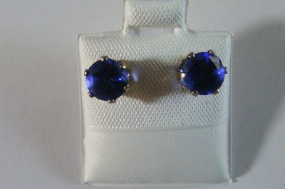 Blueberry Blue Cubic Zirconia post earrings sterling silver