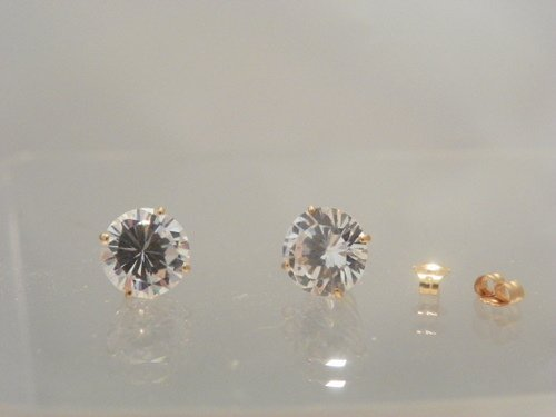 10kt Yellow Gold 8mm round Cubic Zirconia CZ stud earrings