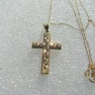 10kt Yellow Gold Diamond Cut Gold Cross and pendant chain