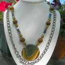 Succor Creek Jasper with Hematite Gunmetal and Silver 3 piece Jewelry Set