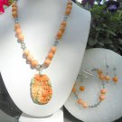 Natural Hand Carved multi color agate flower Peach Marble Black Diamond  Set