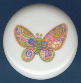 Psychedelic  Butterfly #1 Ceramic Knobs Pulls