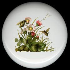 BEES on FLOWERS Victorian Design CERAMIC KNOBS