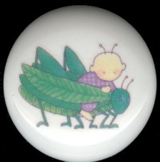 BABY BUGS Ceramic Knobs Pulls ~ GRASSHOPPER