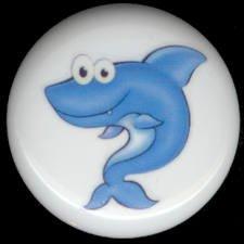 Whimsical BLUE SHARK Ceramic Knob KNOBS
