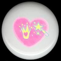 PINK HEART w/ Crown and Wand * Ceramic Knobs Pulls