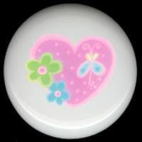 PINK HEART with 3 Lil Retro Flowers * Ceramic Knobs