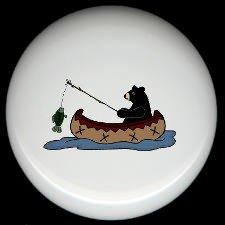 Rustic Lodge Decor - BEAR FISHING #2 ~ Ceramic Knobs Pulls