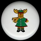 Rustic Lodge Decor - GIRL MOOSE in WINTER ~ Ceramic Knobs Pulls