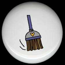 BLUE HAND BROOM with HEART Ceramic Knobs Free S/H
