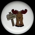 Whimsical MOOSE CROSSING X-ING Cabin Rustic Ceramic Drawer Knobs Pulls FREE S/H