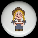 FARM GIRL Kid Ceramic Drawer Knobs Pulls FREE S/H