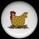 POLKA DOT CHICKEN  #1 Ceramic Drawer Knobs Pulls FREE S/H