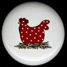 POLKA DOT CHICKEN  #4 Ceramic Drawer Knobs Pulls FREE S/H