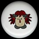 Primitive Raggedy RAG Cloth DOLL #1 Ceramic Drawer Knobs Pulls FREE S/H