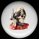PIRATE SKULL with GUN  * Ceramic Drawer Knobs Pulls FREE S/H
