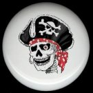 PIRATE SKULL with Red BANDANA * Ceramic Drawer Knobs Pulls FREE S/H