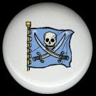 BLUE PIRATE SKULL FLAG * Ceramic Drawer Knobs Pulls FREE S/H