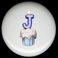 CUPCAKE CANDLE Alphabet LETTER J ~ Ceramic Drawer Knobs Pulls