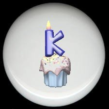CUPCAKE CANDLE Alphabet LETTER K ~ Ceramic Drawer Knobs Pulls