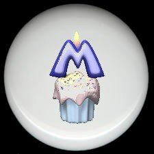 CUPCAKE CANDLE Alphabet LETTER M ~ Ceramic Drawer Knobs Pulls