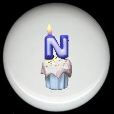 CUPCAKE CANDLE Alphabet LETTER N ~ Ceramic Drawer Knobs Pulls