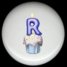 CUPCAKE CANDLE Alphabet LETTER R ~ Ceramic Drawer Knobs Pulls