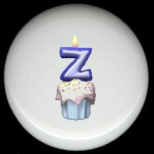 CUPCAKE CANDLE Alphabet LETTER Z ~ Ceramic Drawer Knobs Pulls