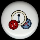 3 BUTTONS Red White Blue Sewing ~ Ceramic Drawer Knobs Pulls FREE S/H